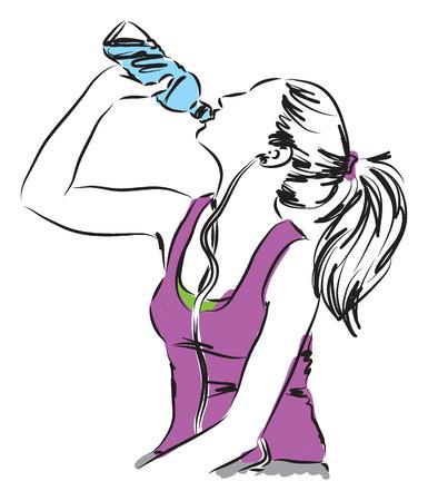 vrouw meisje drinken van een fles water fitness illustratie