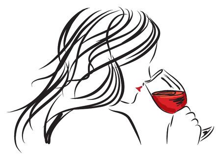 weinverkostung: Frau M�dchen riecht ein Glas Wein Illustration