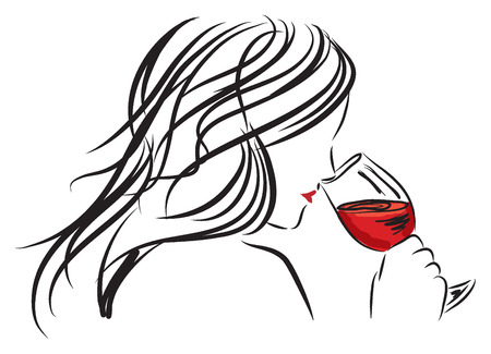 Drinking wine: woman girl smelling a wine glass illustration Illustration