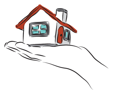 real state concept hand and house illustration Vector