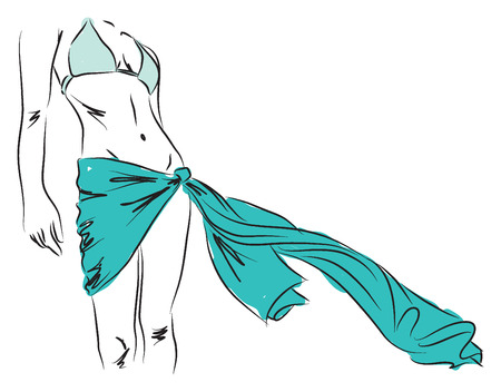 lady woman gril at the beath with bikini illustration