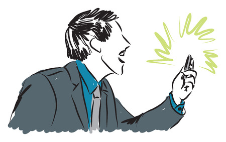 instant message:  businessman yelling at a smartphone illustration Illustration