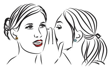women telling a secret illustration Illustration