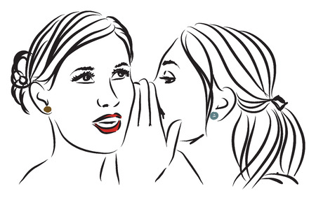 women telling a secret illustration Illustration