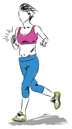smart phone woman: woman running with a smartphone ilustration