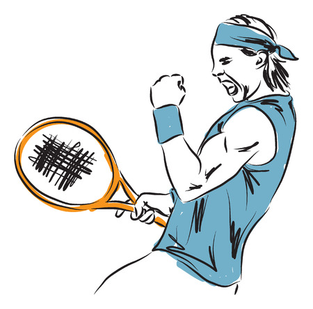 male tennis players: tennis player illustration