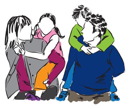 Heureux illustration de la famille Banque d'images - 30034321
