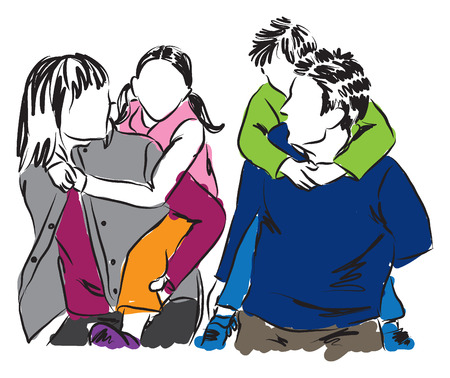 familias unidas: ilustración feliz familia Vectores
