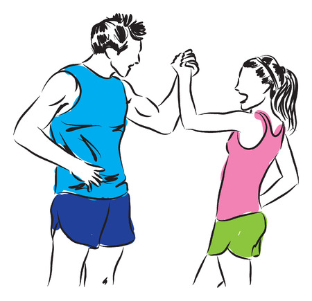 couple fitness illustration Vector
