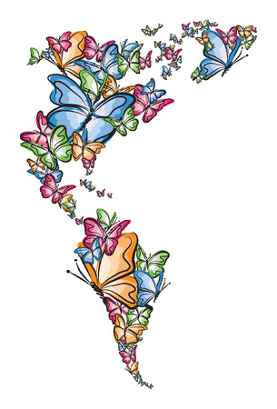 North and South America world map silhouette made of butterfly illustration Illustration