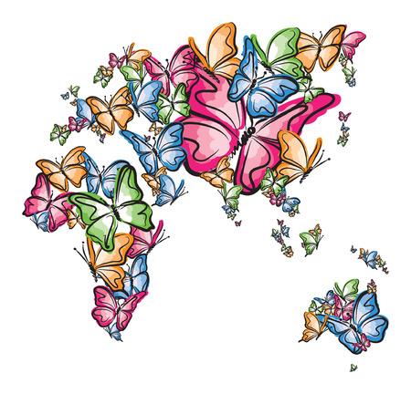 나비 그림으로 만든 유럽 아시아 아프리카와 호주 세계지도 실루엣