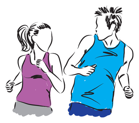couple man and woman jogging together illustration Vector