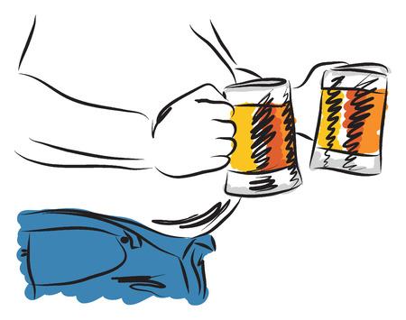 alcoholism: belly beer man drinking beer illustration Illustration
