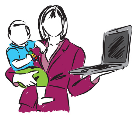 gray suit: mom mother work in home with a baby illustration