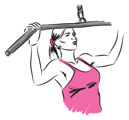 working out: woman work-out illustration