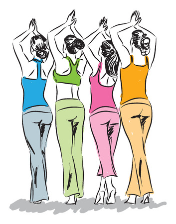 women modeling yoga clothes illustration