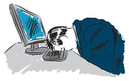 sleepy man at work illustration Illustration