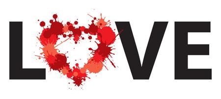 love heart dots illustration word