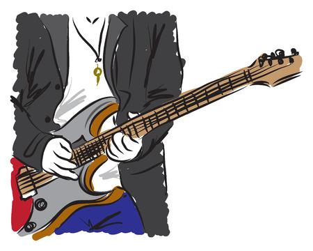 man playing a guitar illustration Vector