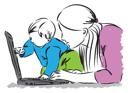 home clipart: baby and mom at the computer laptop illustration Illustration