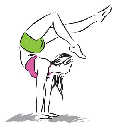 gymnastic figure woman illustration Vector