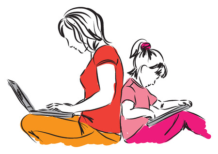 back to work: mom and daughter sitting down with computers illustration Illustration