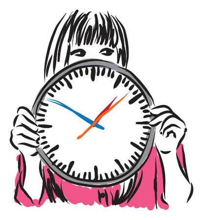 llegar tarde: mujer con la ilustración del concepto de tiempo de reloj Vectores