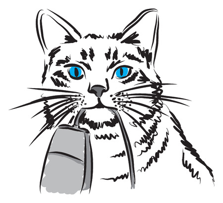 mamal: cat with mouse computer concept illustration