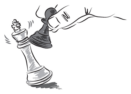 chess pieces illustration business concept Çizim