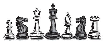 chess board: chess game pieces concept illustration