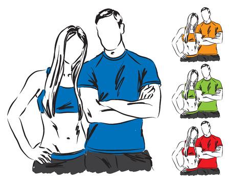 hombres haciendo ejercicio: pareja ilustración sportif