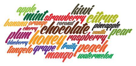 flavors: lettering flavors fruits text illustration Illustration