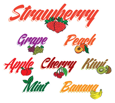 lettering flavors fruits text illustration Vector