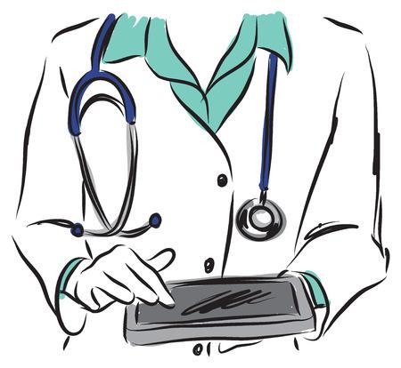 doctor tablet: medical concepts Illustration