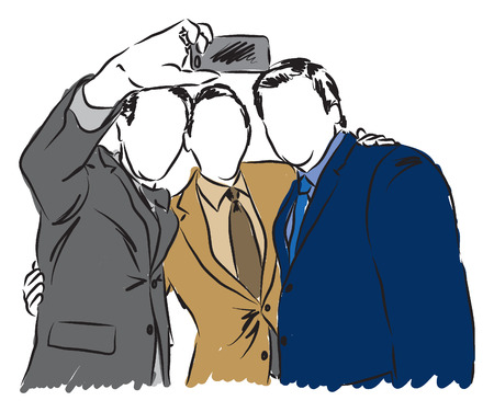 freehand drawing: businessmen taking a selfie illustration