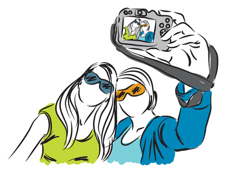 selfie: girls ladies taking a selfie photo illustration Illustration