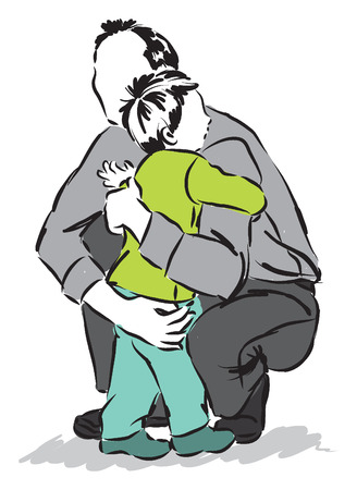 father man hugging a child son illustration Çizim