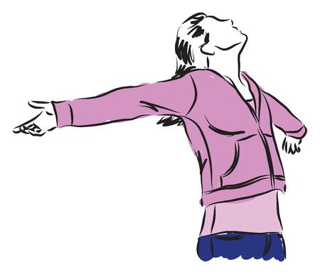 女性女の子自由感図  イラスト・ベクター素材