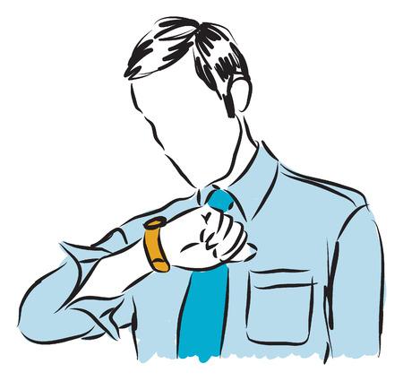 punctual: hombre de negocios mirando su reloj
