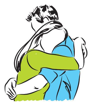 부부 서로 그림을 포옹