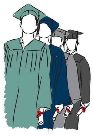 students graduating illustration Vector
