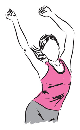 여자 춤 휘트니스 에어로빅 그림 일러스트