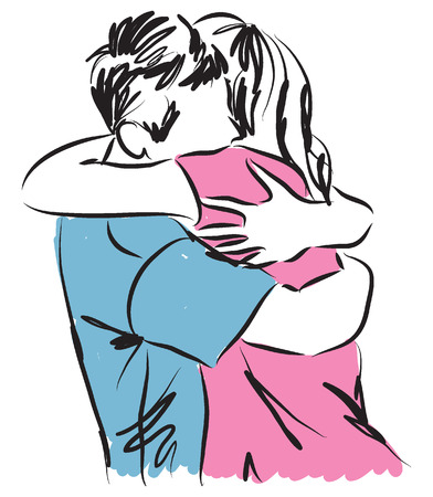 couple man and woman hugging each other illustration