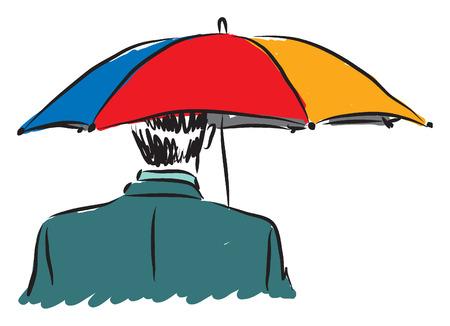 mature business man: businessman with un umbrella business concept illustration Illustration