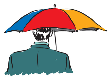 businessman with un umbrella business concept illustration Illustration