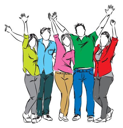 erwachsene: glückliche Menschen illustration