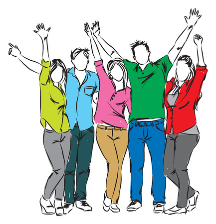 raised hand: happy people illustration Illustration