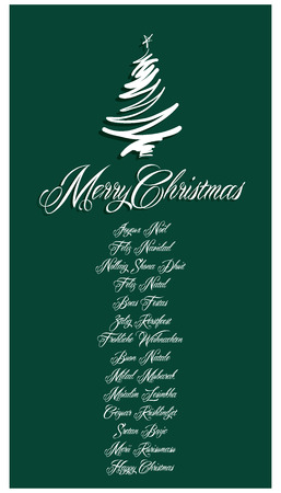 Green Merry Christmas Card all languages illustration Vector