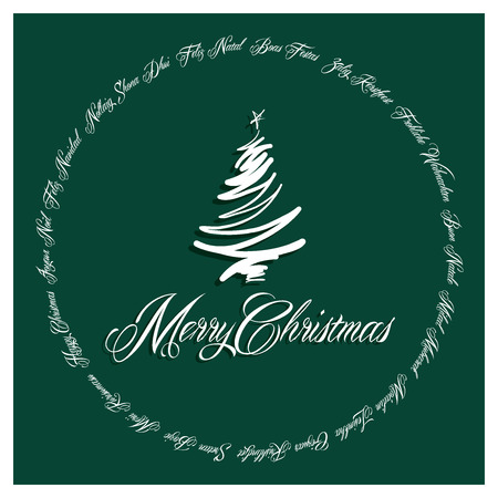 Green Merry Christmas Card all languages illustration 2 Vector