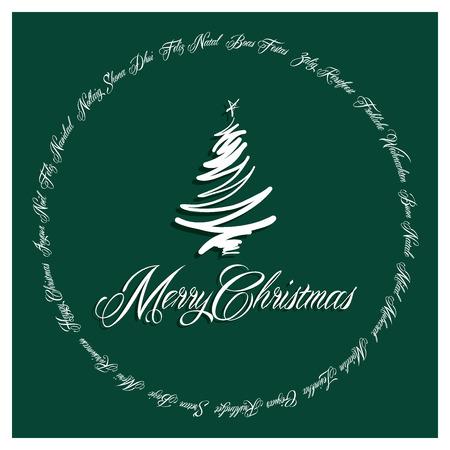 boas: Verde Merry Christmas Card tutte le lingue illustrazione 2